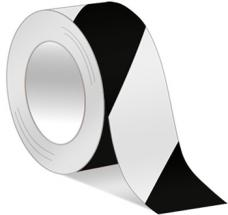 HAZARD WARNING PVC TAPE 50mm x 33m HWPVC5033BW