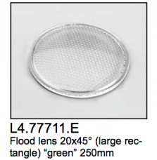 L4.77711.E Flood lens  large rectangle  20x45?  green  250mm  Arrisun 12